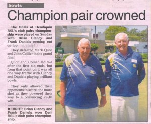 Deni RSL's Club Pairs C'ship won by Armed Bowler Brian Clancy and Frank Daniels