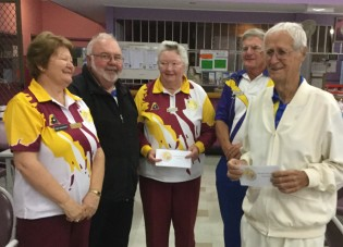 Best first game. Gloria Browning, R. Davey and Herb Smith, Bundaberg.