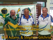 2nd Place TBC Bowling Arm Pairs 2019