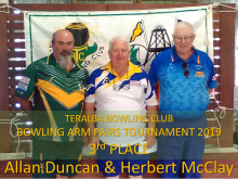 3rd Place TBC Bowling Arm Pairs 2019